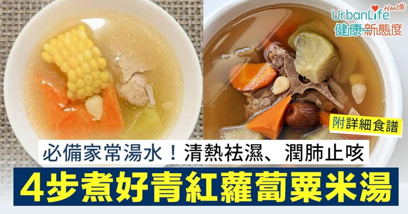 【青紅蘿蔔豬骨湯功效】清熱袪濕、潤肺止咳!簡單4步煮好清甜青紅蘿蔔粟米湯