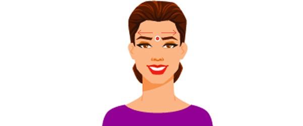 將舌頭平貼在口腔頂部,以指腹按壓眉間約20秒。