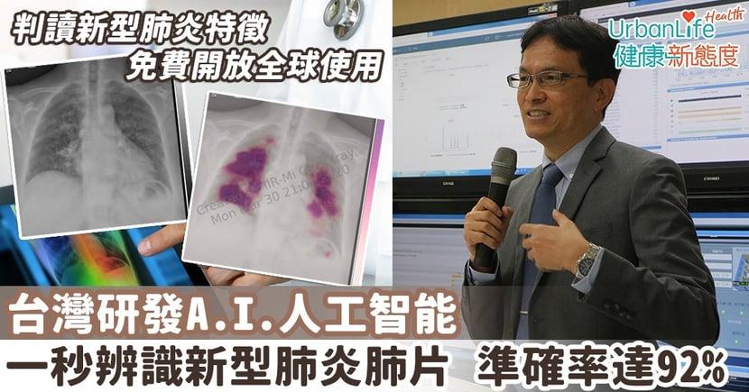 【新型肺炎檢疫】台灣研發AI人工智能一秒辨識新型肺炎肺片 準確率達92% 免費開放全球使用