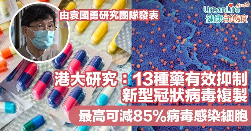 【新型肺炎治療】港大研究:13種藥有效抑制病毒複製 最高可減85%病毒感染細胞