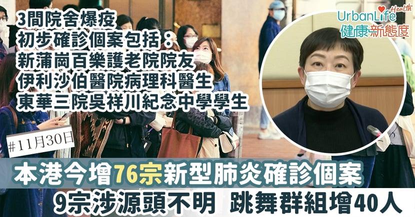 【新型肺炎|11.30香港確診個案】今增76宗確診9宗涉源頭不明 3間院舍爆疫