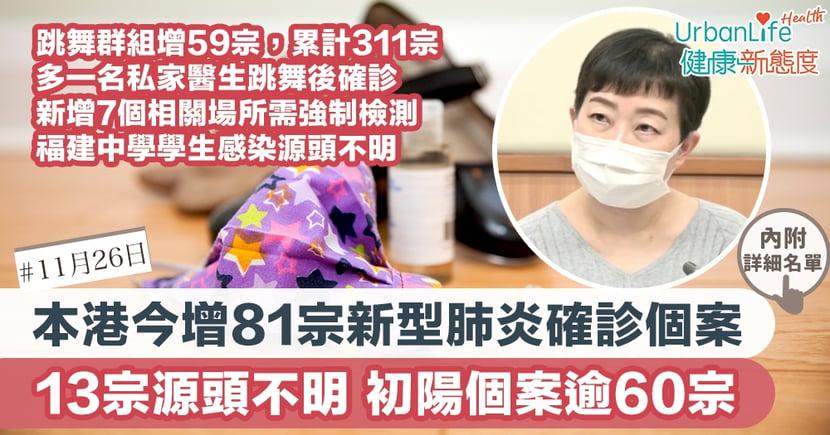 【新型肺炎|11.26香港確診個案】今增81宗確診13宗涉源頭不明 跳舞群組增59宗增7個場所需檢測