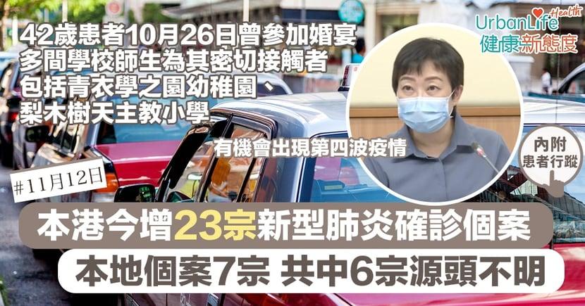 【新型肺炎|11.12香港確診個案】本港今增23宗確診 本地源頭不明個案6宗 張竹君:或現第四波疫情