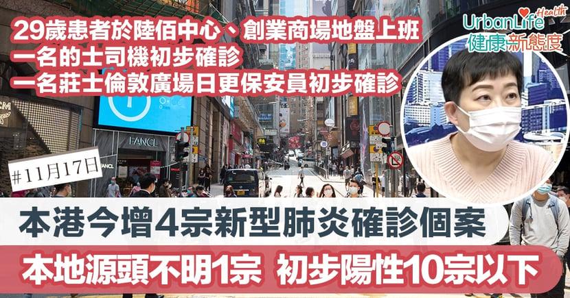 【新型肺炎|11.17香港確診個案】本港今增4宗確診 本地源頭不明個案1宗 患者於荔枝角、西環上班