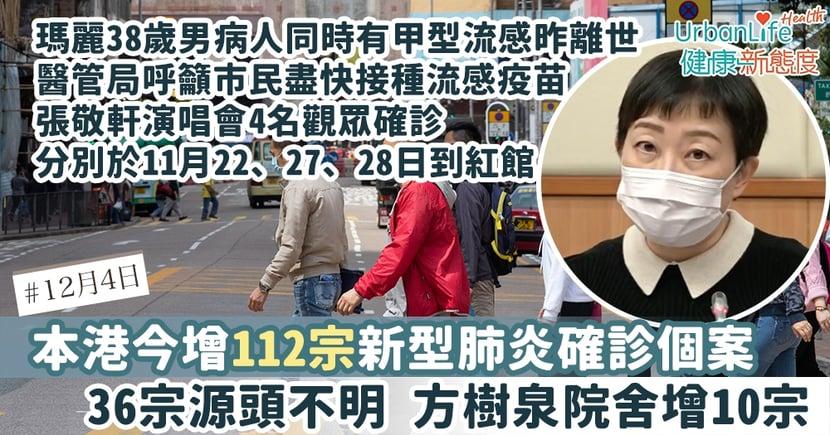 【新型肺炎|12.4香港確診個案】今增112宗確診張敬軒演唱會4位觀眾確診 瑪麗38歲男病人離世同時有甲型流感