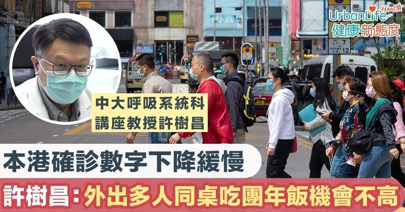 【新型肺炎】本港確診數字下降緩慢 許樹昌:市民能外出多人同桌吃團年飯機會不高