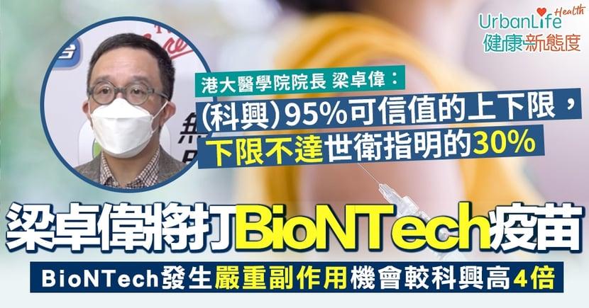 【新冠疫苗接種】梁卓偉:自己會打BioNTech疫苗 科興疫苗可靠值下限不達世衛標準