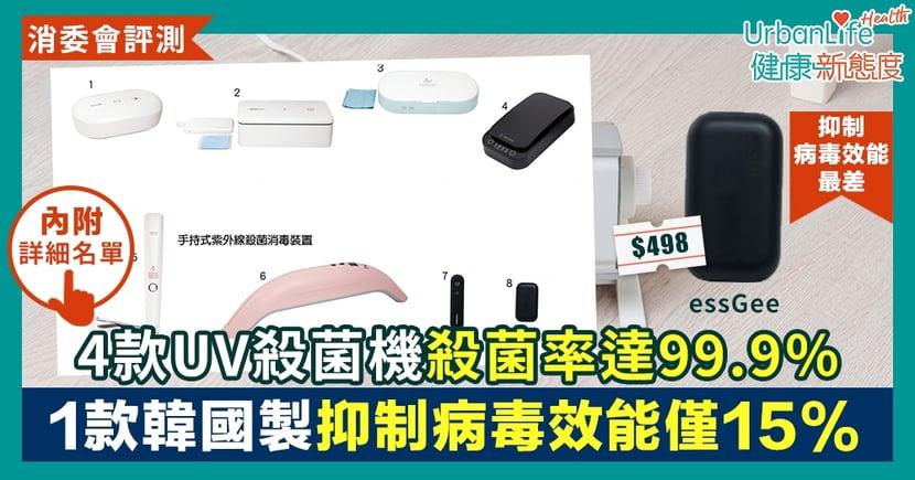 【消委會紫外線殺菌機測試】8款UV殺菌機表現參差 1款韓國製抑制病毒效能僅15%