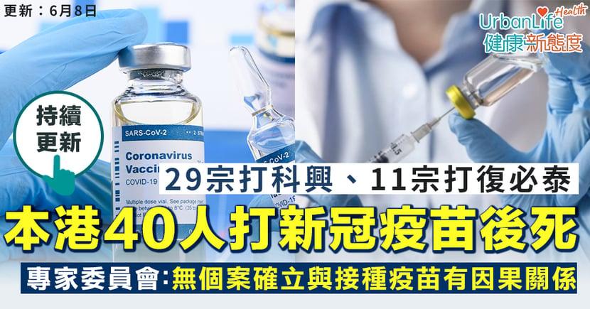 【打疫苗後死】本港累計約40人打新冠疫苗後死亡 29人打科興、11人打BioNTech復必泰