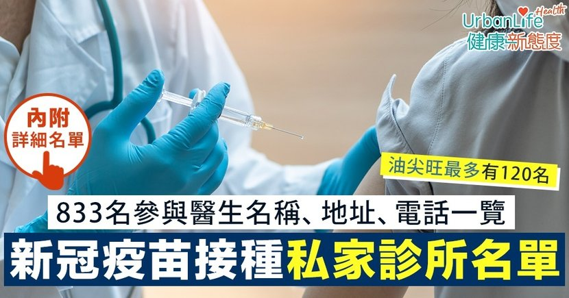 【免費疫苗接種私家診所名單一覽】833名私家醫生提供科興疫苗 油尖旺區最多有120名
