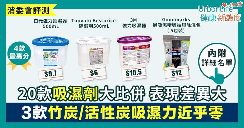 【消委會吸濕劑測試】20款吸濕劑表現差異大 「白元」最高分、3款竹炭/活性炭吸濕力近乎零
