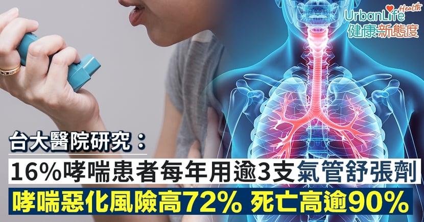 【哮喘藥副作用】台灣研究:16%哮喘患者每年用逾3支氣管舒張劑 哮喘惡化風險高72%、死亡機會高逾90%