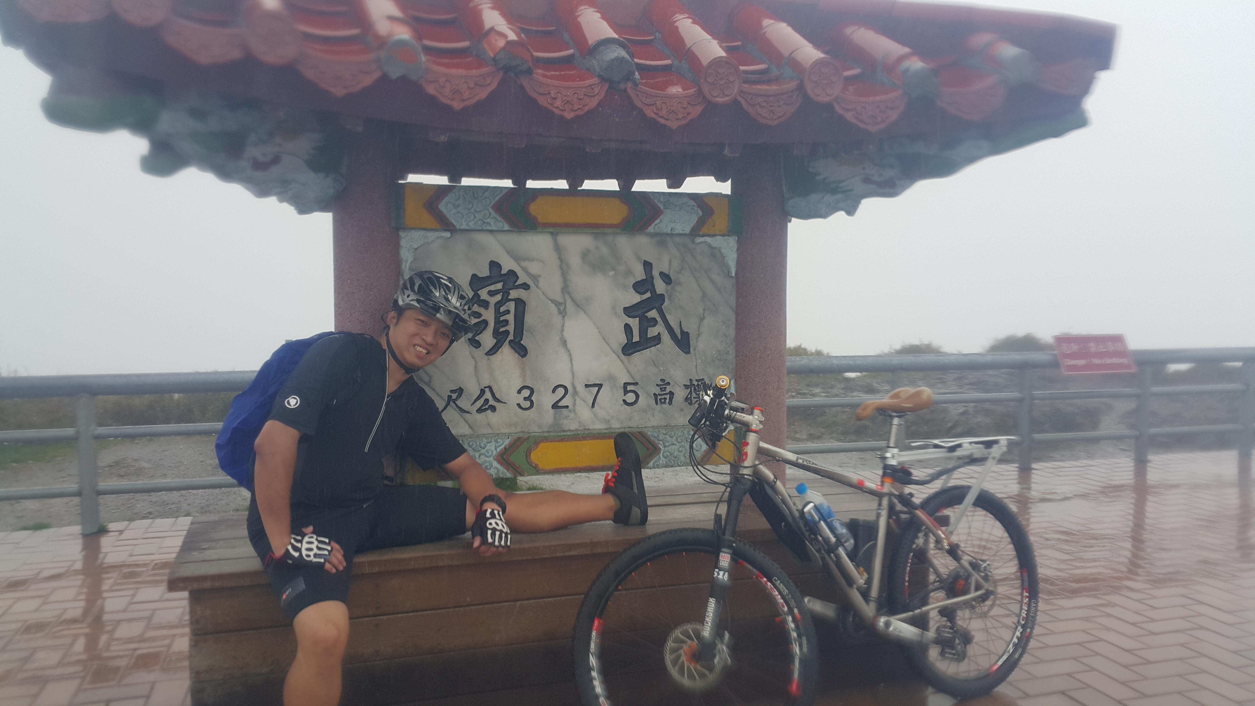 一鳴於2015年征服三千多米高的台灣武嶺。