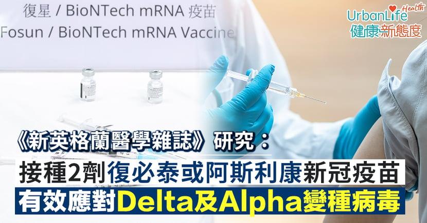 【新冠疫苗】《新英格蘭醫學雜誌》研究:接種2劑復必泰或阿斯利康疫苗 有效應對Delta及Alpha變種病毒