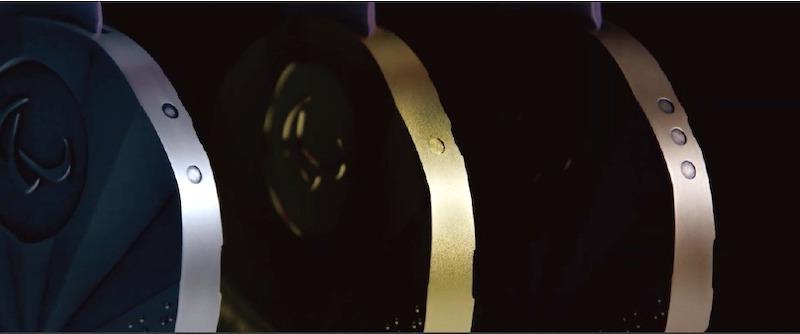 金牌是一個凹點、銀牌是兩個凹點、銅牌則是三個凹點。