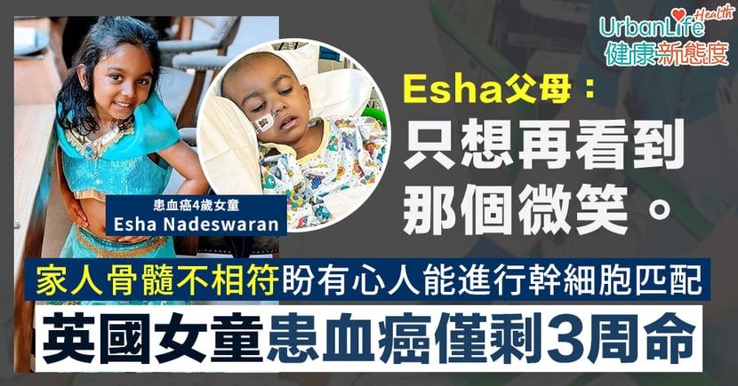 【血癌症狀】英4歲女童患血癌僅剩3周命 父母盼有心人幫助:只想再次看到那個微笑